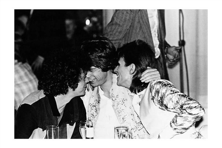 Mick Rock Black and White Photograph - Lou Reed, Mick Jagger, David Bowie, 1973