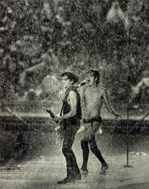 Mick Jagger & Keith Richards in Dallas Rainstorm Performing, 1981