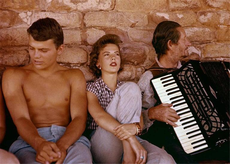 Patrick Wayne, Natalie Wood, Danny Borzage, set of The Searchers, 1956