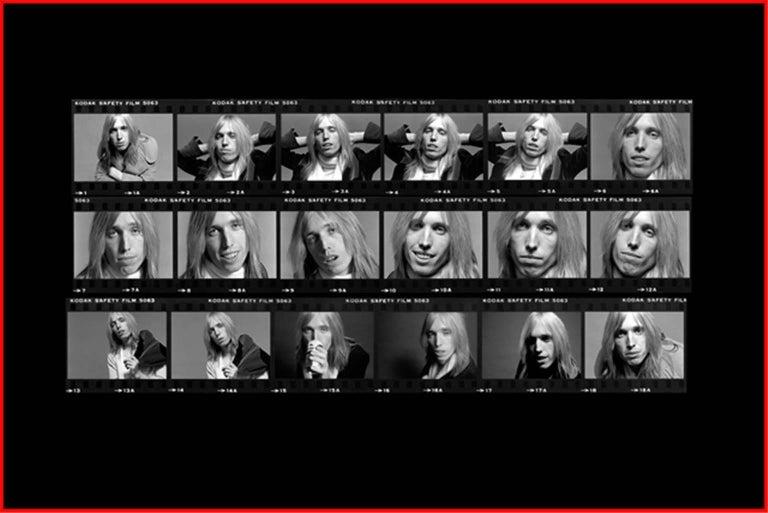 Richard E. Aaron Black and White Photograph - Tom Petty - proof sheet print series, 1973
