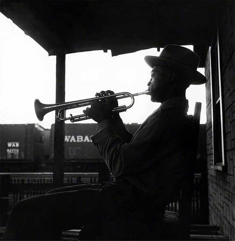 Art Shay Black and White Photograph - Porch Trumpeter, 1951