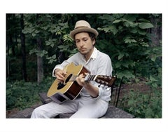 Bob Dylan, In White Hat Playing Guitar at Byrdcliff, 1970