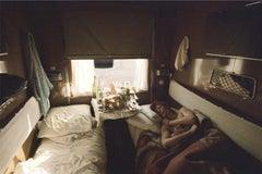 David Bowie, sleeping on train, 1973