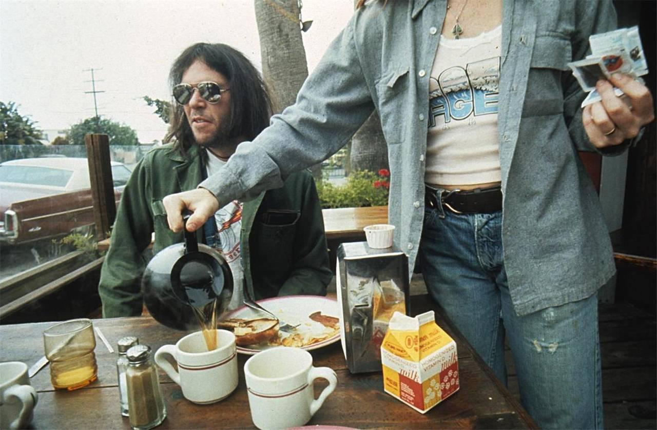 Neil Young having breakfast