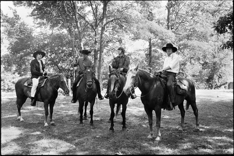 Curt Gunther Black and White Photograph - The Beatles on Horses