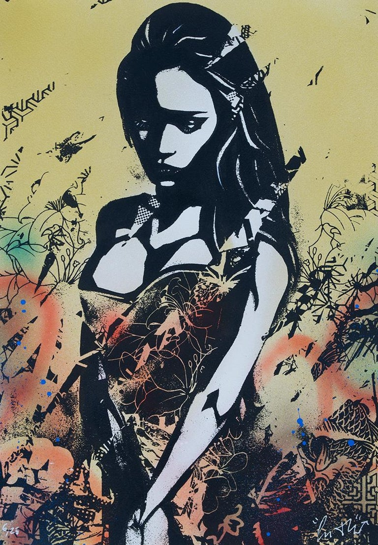 COPYRIGHT: Sadness (Gold)  - Screen print, acrylic & spray Street art, Graffiti