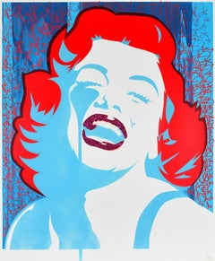 PURE EVIL: Screaming Marilyn Monroe. Unique hand finished print. Street, Pop Art
