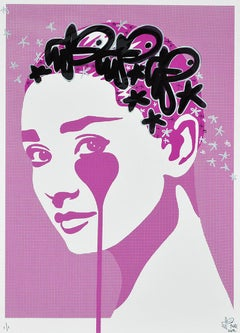 PURE EVIL: Audrey Hepburn Dot-Tone. Unique hand finished print. Street, Pop Art