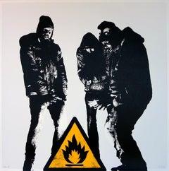 DOTDOTDOT - Bumfire (White) Screen print on paper Street art graffiti, urban art