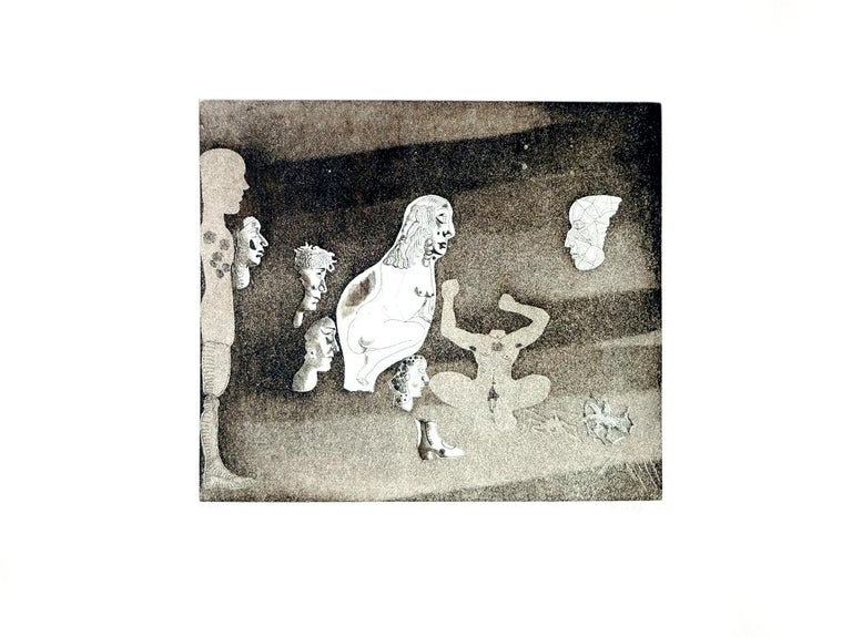 JORGE CASTILLO: Erotic Composition - Etching on paper  Spanish Surrealism