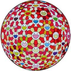 TAKASHI MURAKAMI: Flower Ball: Koi/Red. Hand signed & num. Superflat, Pop Art