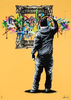 MARTIN WHATSON: Framed - Hand painted screen print on paper Street art, Graffiti