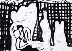 Chimes of midnight -Daniel Erban, 20th Century, Outsider art, Figurative drawing