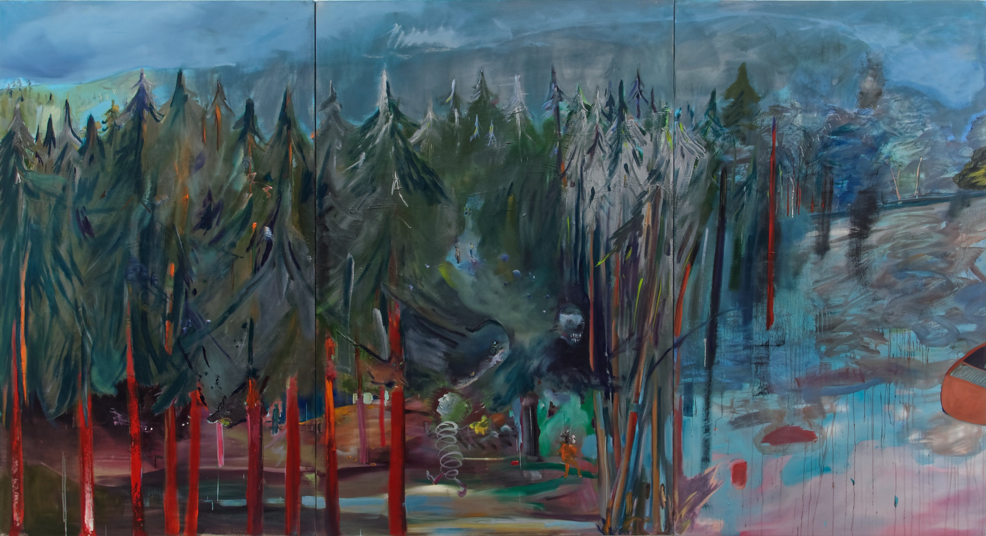 "Triptyc ""The forest, Allegory of hope""- Marie-Hélène Fabra 21st Century painting"