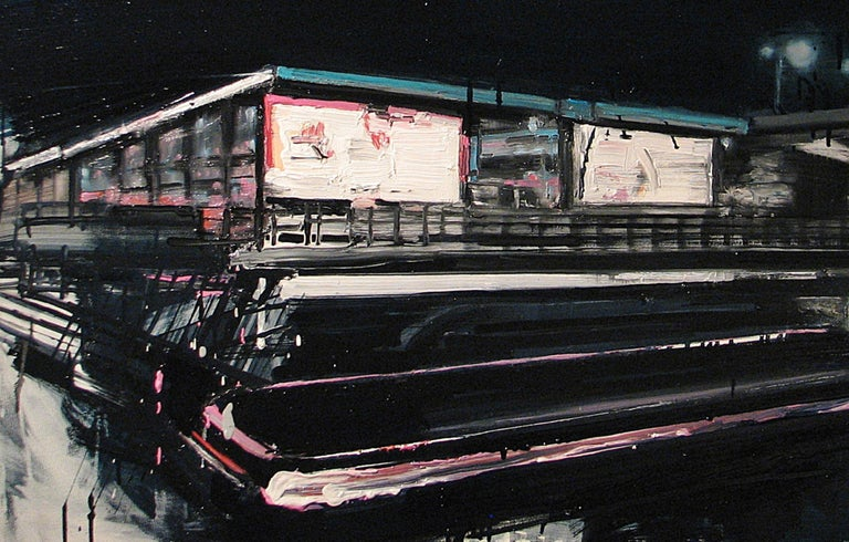 Mooring Light Lines on Railway Stations - Contemporary Painting by Robert Bubel