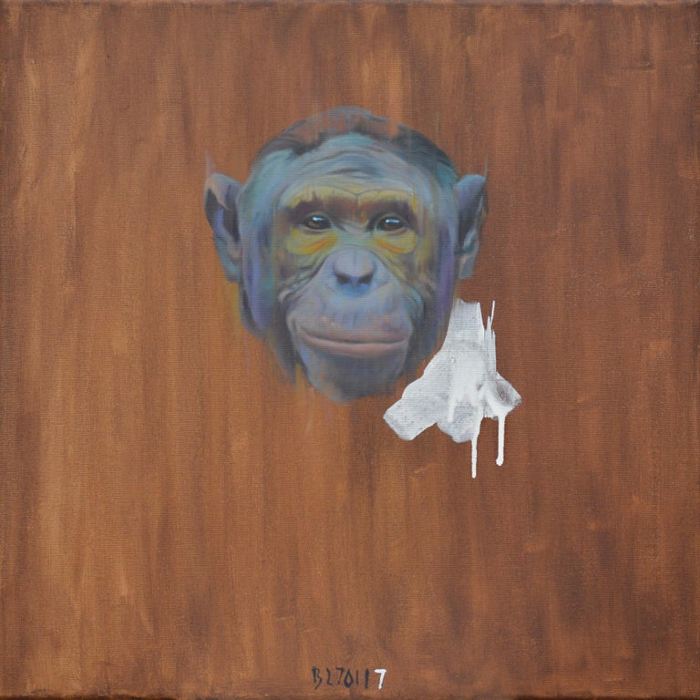 Tomasz Bielak Animal Painting - Bonobo Face