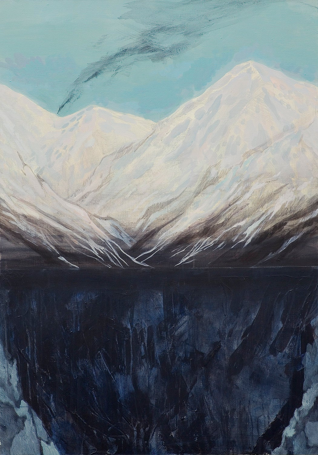 Untitled - Contemporary Figurative Painting, Mountains Landscape, Expression