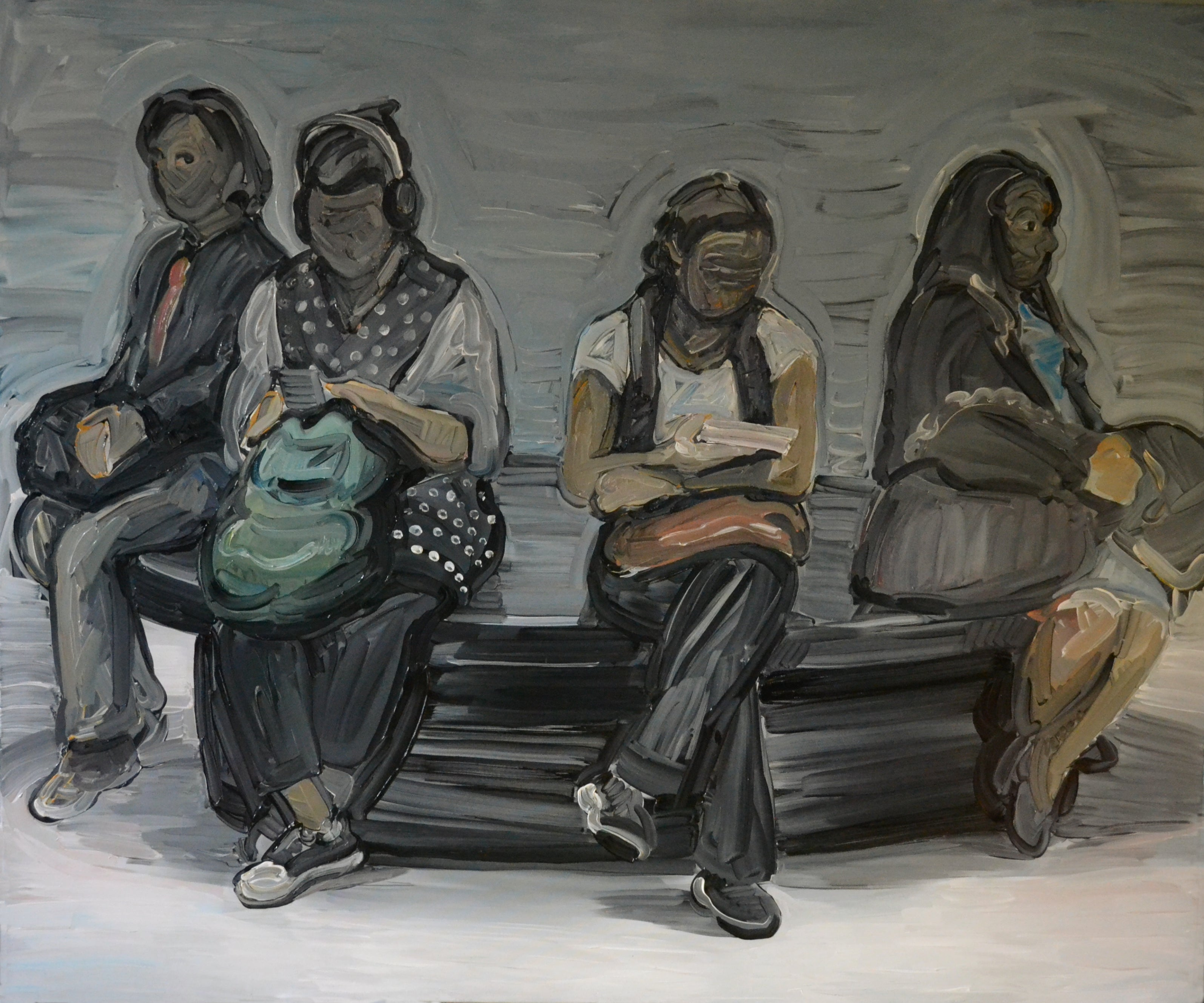Four - Women Portrait, Large Contemporary Expressive Figurative Oil Painting