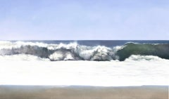 Surf and Sand by Todd Kenyon - Blue, white ocean crashing on the sandy beach.