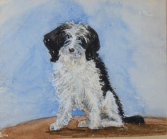 A Black and White Dog - 19th century animal watercolour by Lady Emily Dundas