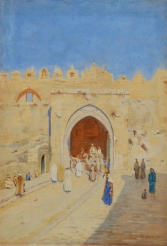 The Damascus Gate, Jerusalem - landscape watercolour by Stanley Inchbold