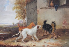 Three dogs with a bone - 19th century painting by Newton Smith Limbird Fielding