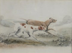 Two Pointers in a Landscape - 19th century watercolour of dogs