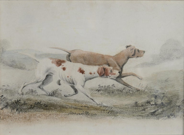 Unknown Animal Art - Two Pointers in a Landscape - 19th century watercolour of dogs