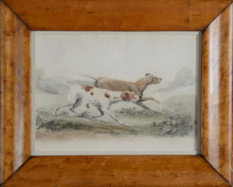 Two Pointers in a Landscape - 19th century watercolour of dogs - Art by Unknown