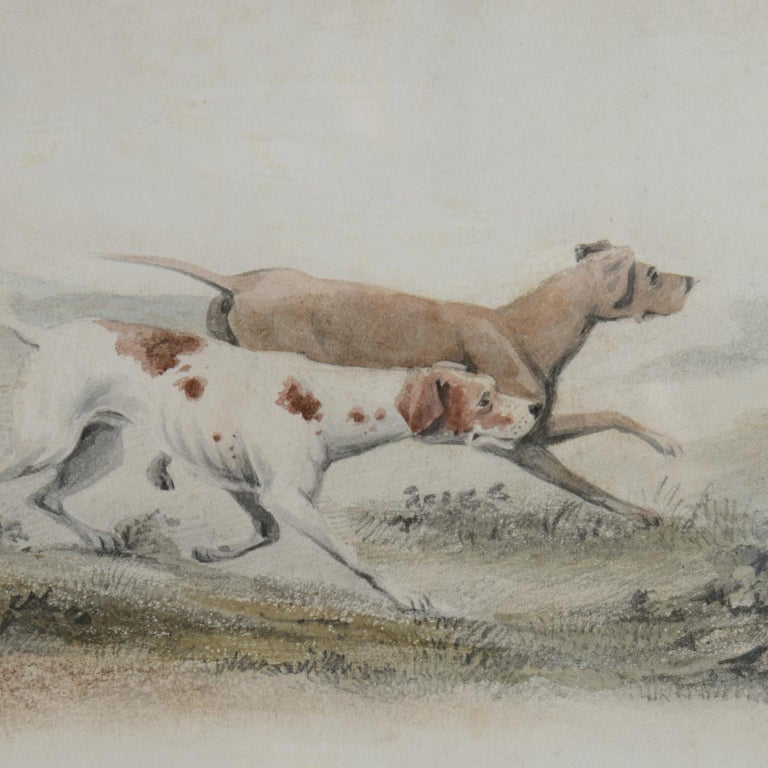 Two Pointers in a Landscape - 19th century watercolour of dogs - Victorian Art by Unknown