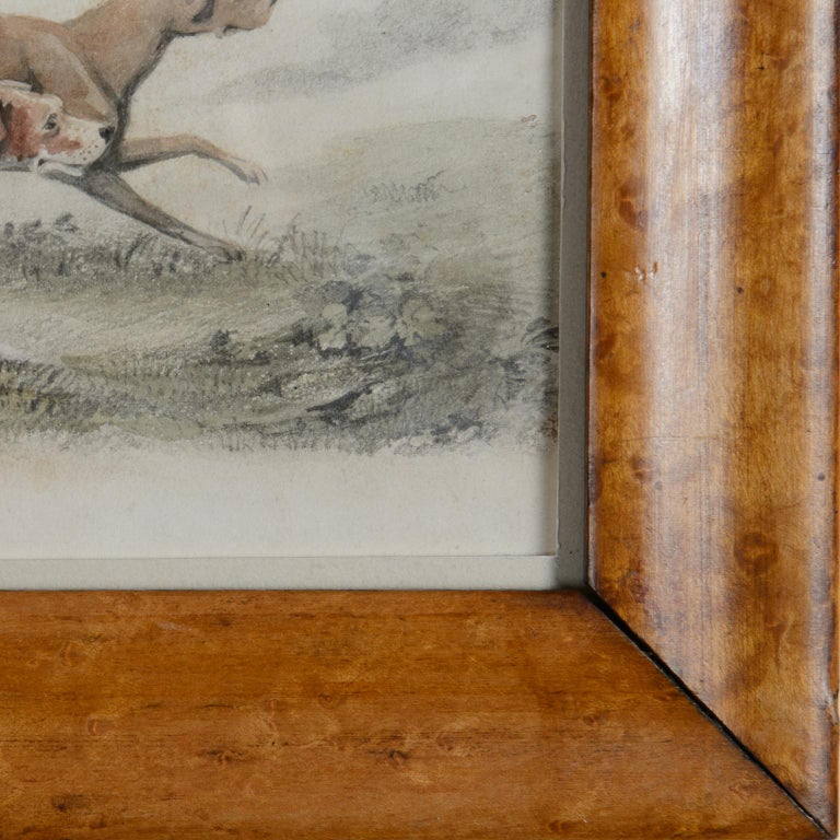 Two Pointers in a Landscape - 19th century watercolour of dogs - Gray Animal Art by Unknown