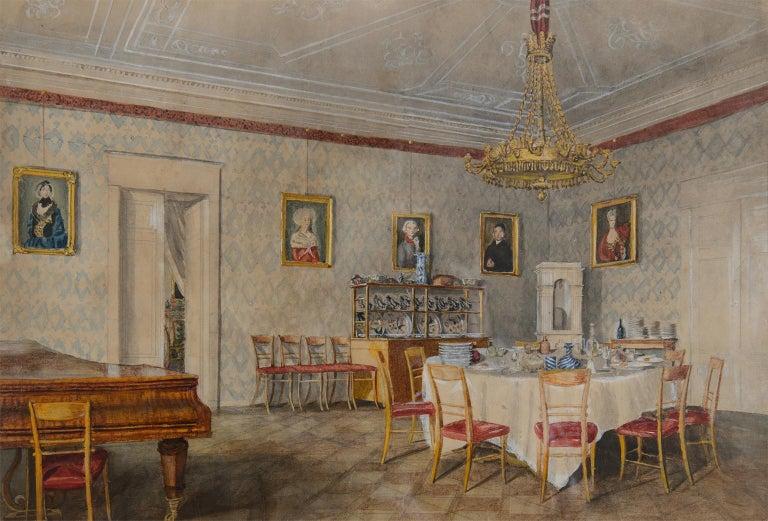 Unknown Interior Art - Dining room at Kolešovice, Czech Rep - 19 c German School watercolour painting