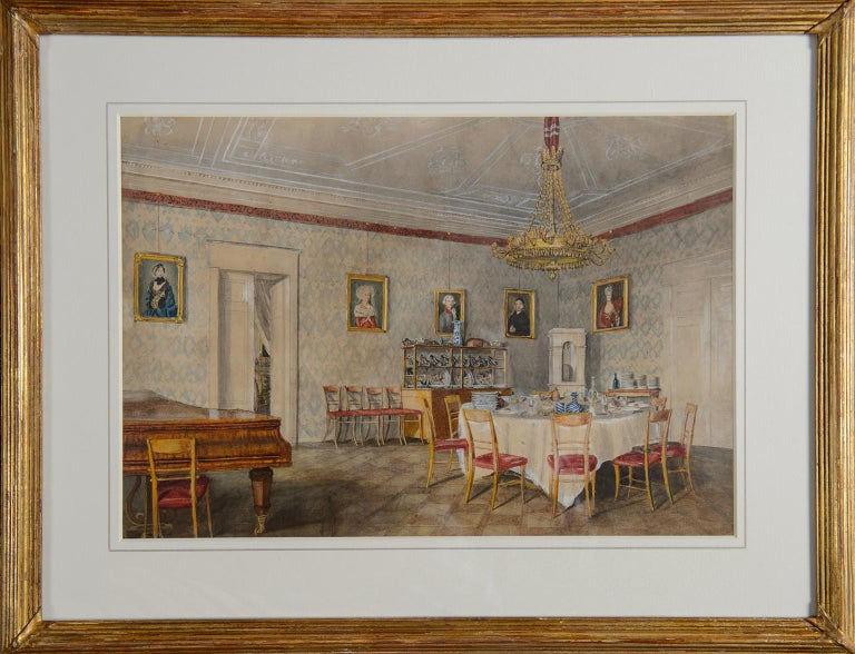 Dining room at Kolešovice, Czech Rep - 19 c German School watercolour painting  - Art by Unknown