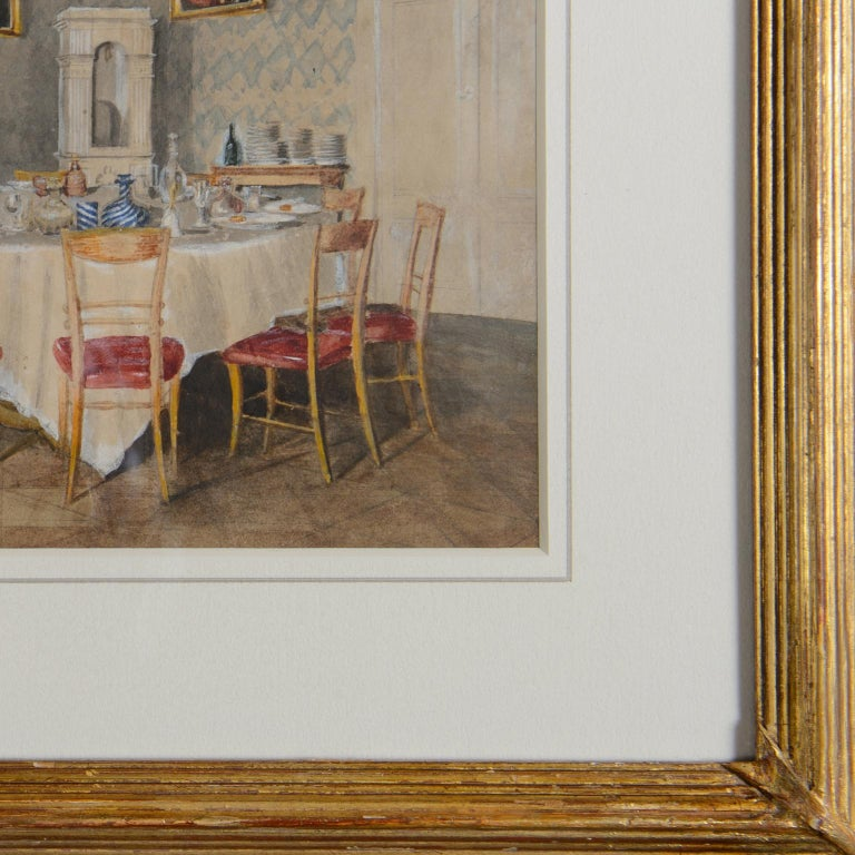 Dining room at Kolešovice, Czech Rep - 19 c German School watercolour painting  - Victorian Art by Unknown