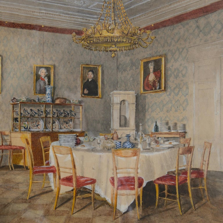 Dining room at Kolešovice, Czech Rep - 19 c German School watercolour painting  - Brown Interior Art by Unknown