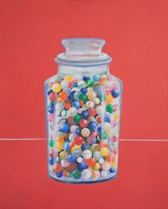 Jar of Marbles - contemporary still life oil painting by Patrice Lombardi