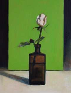 White Rose and Green Box - still life oil painting by Patrice Lombardi