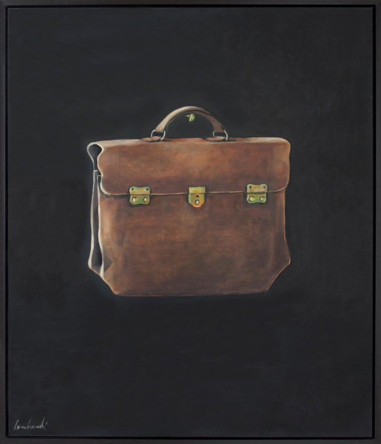 The Lucchese Bag - contemporary still life oil painting by Patrice Lombardi For Sale 1