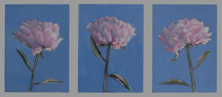 Oil on wood. Dimensions are 24 x 45 in (60 x 115 cm) framed.   Lombardi's paintings are fascinated with light, colour, and the texture of the painted surface. This triptych of peonies, full of movement, are a study of the flowers' strength and