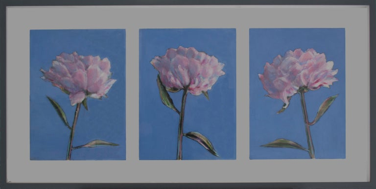Collection of Peonies Triptych - still life oil paintings by Patrice Lombardi For Sale 1