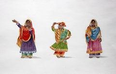 Dancing girls - 19th century Indian figurative painting, 3 girls in bright saris