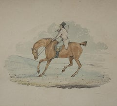 6 hunting drawings - 19th century watercolours of horses and dogs by Henry Alken