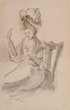 A lady wearing a mob cap sewing - 18th century figurative ink drawing