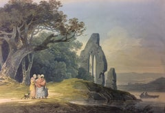 Rustics by a Ruined Church - 19th century landscape painting by William Payne