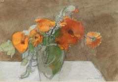 Still Life with Marigolds - contemporary still life painting by John Ward, R.A.