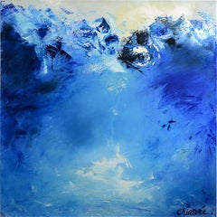 """L'eau d'as"", Blue Abstract Squared Oil Painting"