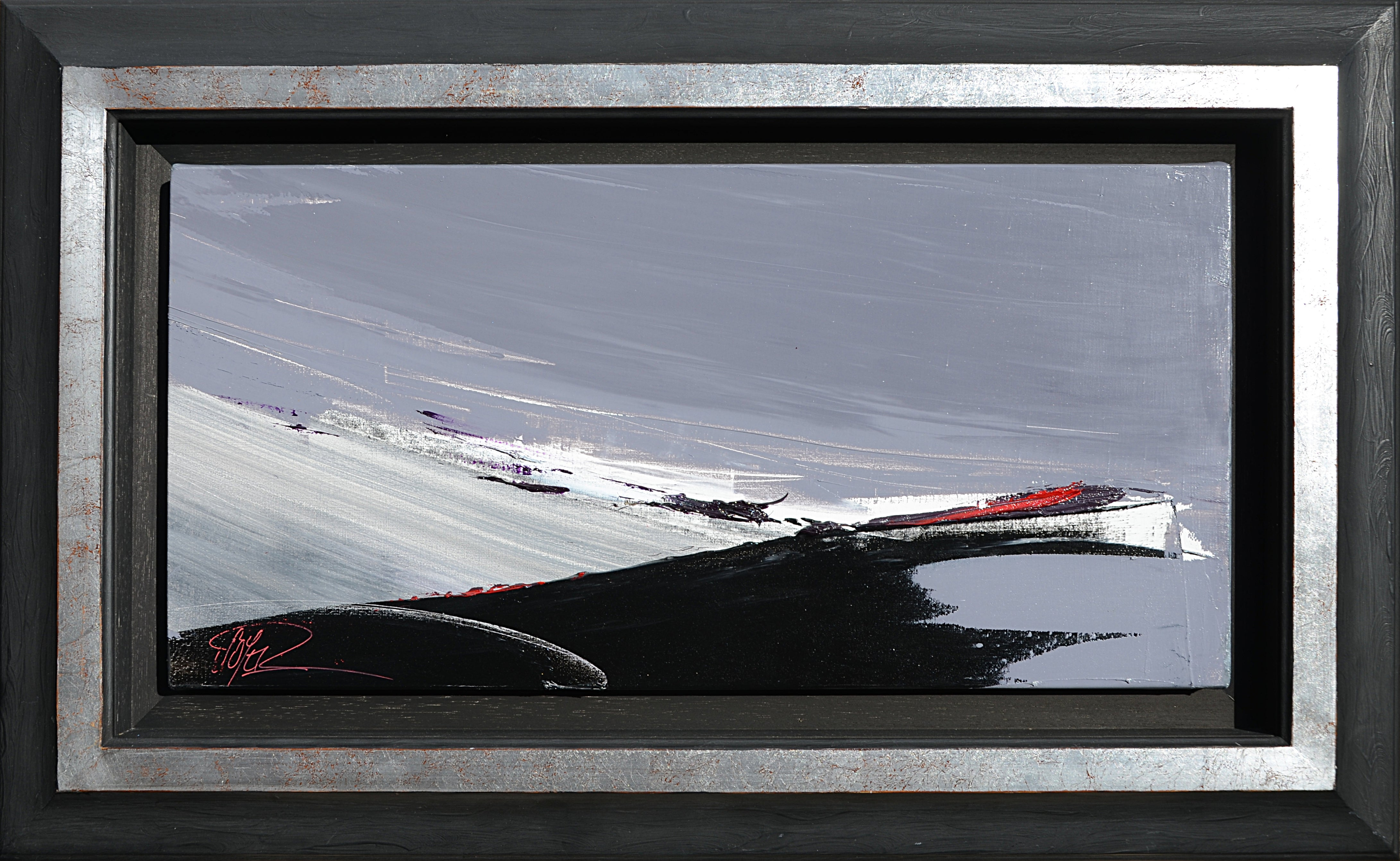 Black and White on Grey with Purple and Red Abstract Oil Painting, Untitled