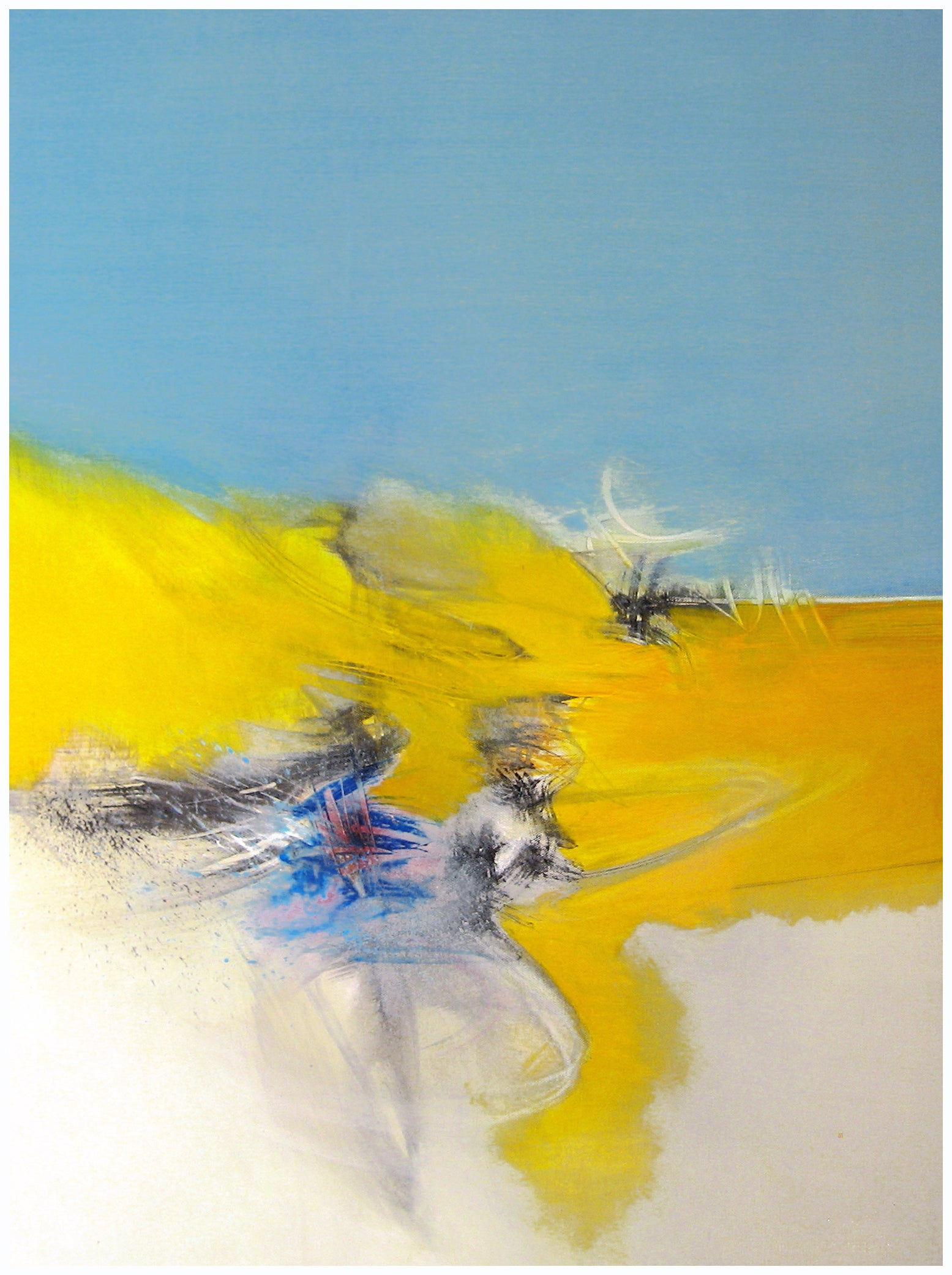 """""""Dance"""", Blue, Yellow and Beige Lyrical Abstract Acrylic painting"""