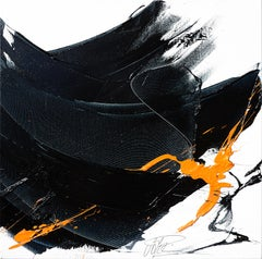 Black on White with Orange Spurt Abstract Squared Oil Painting, Untitled