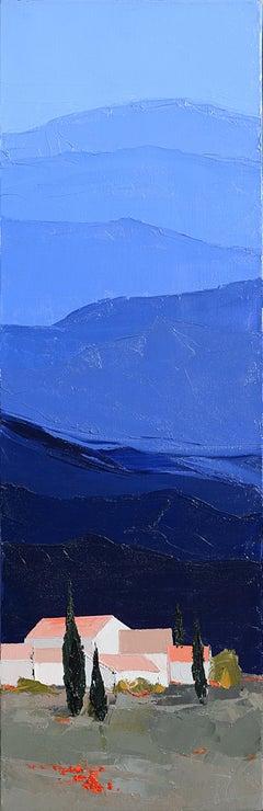 """""""Cool Blue Sky"""" (""""Ciel bleukif""""), Blue Vertical Landscape Oil Painting"""
